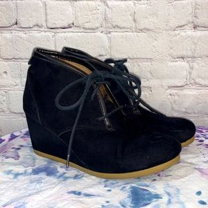 Mad Love Black Suede Lace Up Wedge Booties